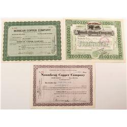 Three Different Michigan Mining Stock Certificates