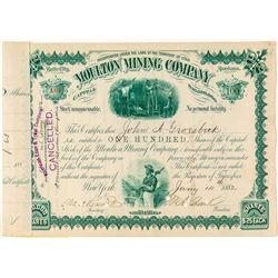 Moulton Mining Company, Butte City, Montana Stock Certificate
