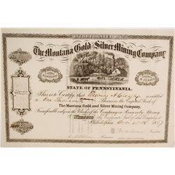 Stock Cert. Montana Gold & Silver Mining Co.