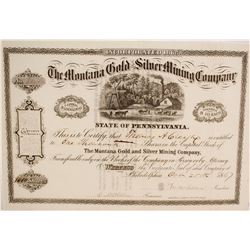 Stock Cert. Montana Gold & Silver Mining Co.