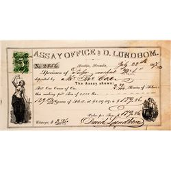 D. Lundbom Assay Office Receipt, Austin, Nevada, 1867