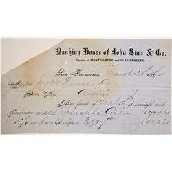 John Sime Bullion Bars Receipt, Austin, NV, 1866