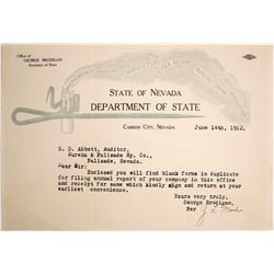 State of Nevada Letterhead with Mining Candlestick Vignette