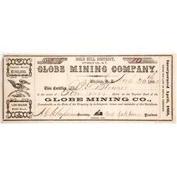 Globe Mining Co. Certificate, 1865