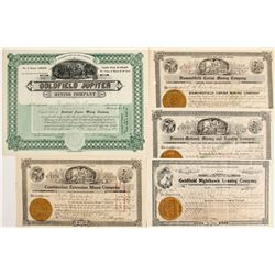 Five Different Goldfield Mining Stocks Signed by H.T. Bragdon