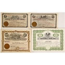 Four Different Nevada Mining Stocks signed by George Wingfield