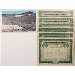 Goldfield Deep Mines Co. Stock Certificates Plus Photo
