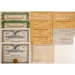Goldfield Development Co. Stock Certificates & Checks