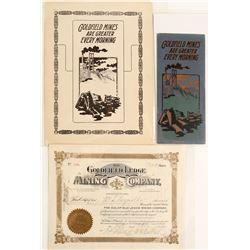 Goldfield Ledge Mining Co. Stock Certificate & Two Prospectuses