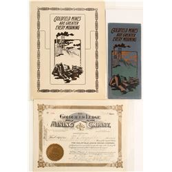 Goldfield Ledge Mining Co. Stock Certificate & Two Prospectuses