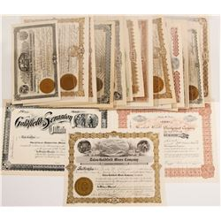 Goldfield Stock Certificates for Mining Companies with Eastern Namesakes