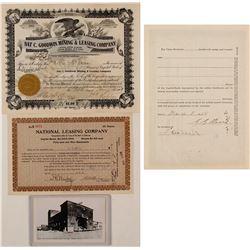 Nat C. Goodwin & George Graham Rice Goldfield Mining Stock Certificates