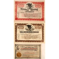 Three T.L. Oddie Signed Nevada Mining Stock Certificates