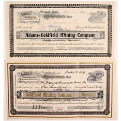 Two Different Goldfield Mining Stock Certificates Signed by R.L. Johns