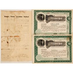 Bovard Mining District Stock Certificates & a Claim Notice Signed by Bovard