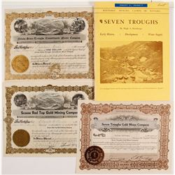 Three Pershing County, NV Mining Stock Certificates Plus a Book
