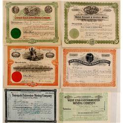 Six Different Tonopah Mining Stock Certificates
