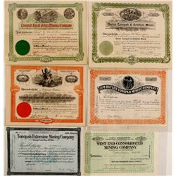 Six Different Tonopah Mining Stock Certificates