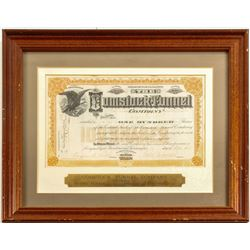 Framed Comstock Tunnel Company Stock Certificate (Sutro Tunnel)