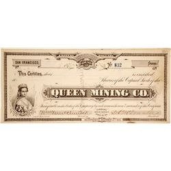 Queen Mining Co. Stock Certificate (G.T. Brown Lithograph)