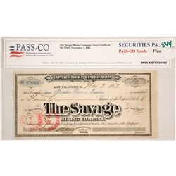 Savage Mining Company 1882 Stock Certificate