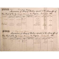 Two Different Van Wyck Assay Memorandums, Virginia City, Nevada, 1865