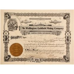 Wellington Goldfield Mining Co. Stock Cert.