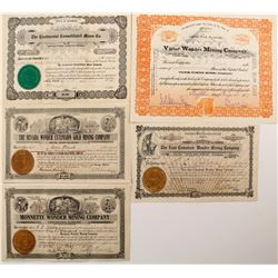 Five Different Wonder District Mining Stock Certificates