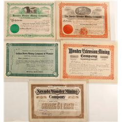 Five Different Wonder District Mining Stock Certificates