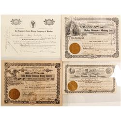 Four Different Wonder District Mining Stock Certificates incl. Jack Davis