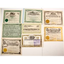 Eight Nevada Mining Stock Certificates