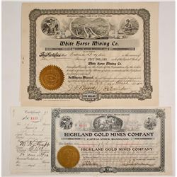 Two Oregon Stock Certificates: Highland & White Horse
