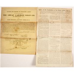 Great Cariboo Gold Mining Co. Promotional Documents