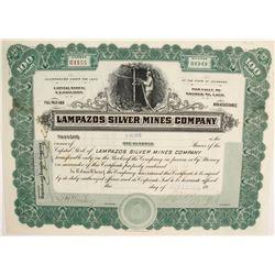 Lampazos Silver Mines Company Stock Certificate