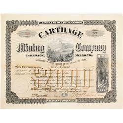 Carthage Mining Company Stock Cert.