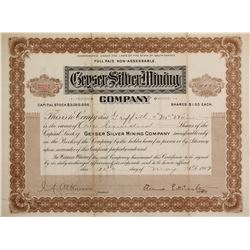Geyser Silver Mining Co. Stock Cert.