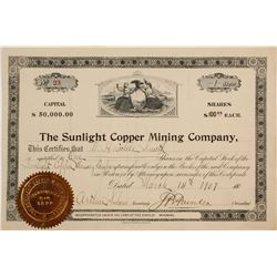 Sunlight Copper Mining Company Stock Cert. (1)