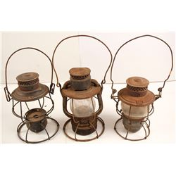 Three Unmarked Railroad Lamps