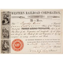 Western Railroad Corporation Stock Certificate, 1843