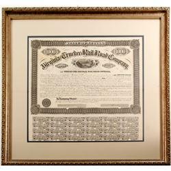 Framed Virginia & Truckee Railroad Bond Signed by William Sharon
