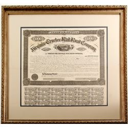 Framed Virginia & Truckee Railroad Bond Signed by William Sharon
