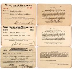 Three Norfolk Railroad Passes