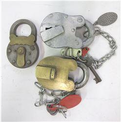 Three Heavy Duty Old Locks