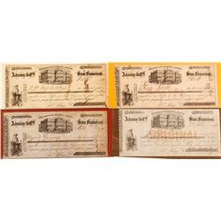 Four Adams & Co. Certificates of Deposit, California Gold Rush Era