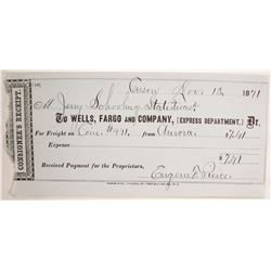 Wells Fargo Express Receipt for Coin Shipment from Aurora, Nevada