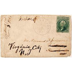 1862 Maine 10 cent Cover to Virginia City, Nevada Territory