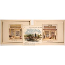 """Store of Mrs E. E. Fisher"" Hand-colored Lithograph, etc."