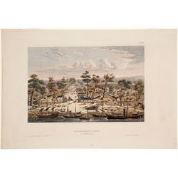 Early Sacramento City Hand-colored Lithograph Overview