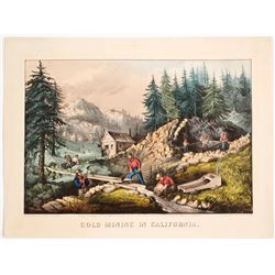 Currier & Ives Hand-colored Print: Gold Mining in California