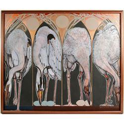 Four White Cranes